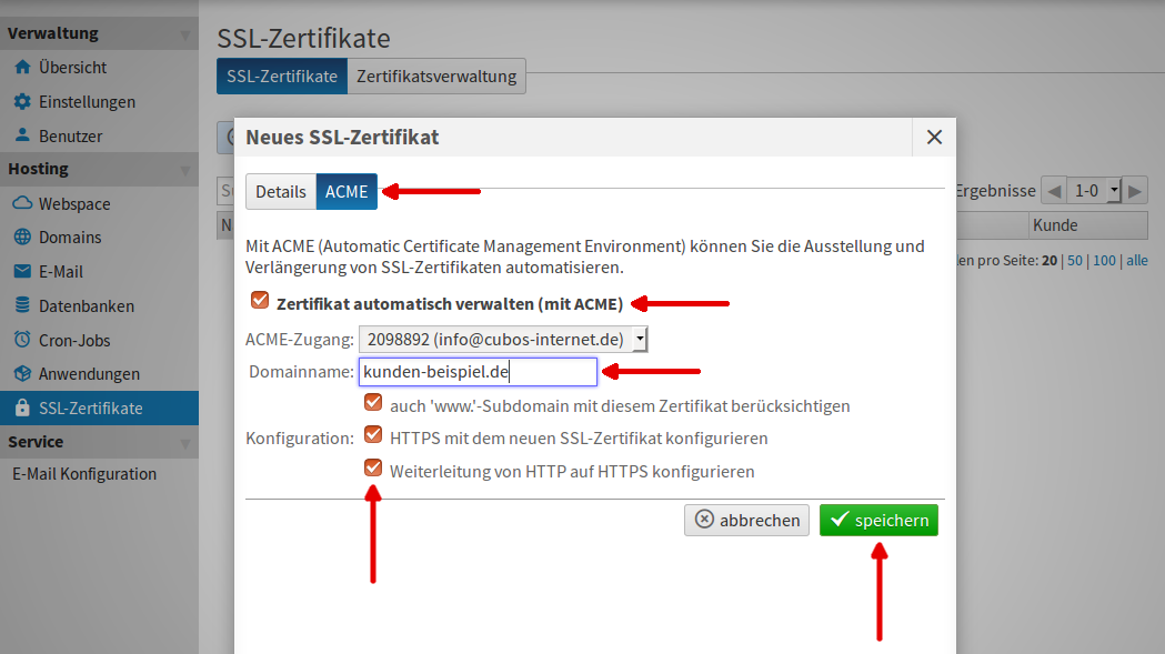 Zertifikat in Live Config - cubos Internet GmbH