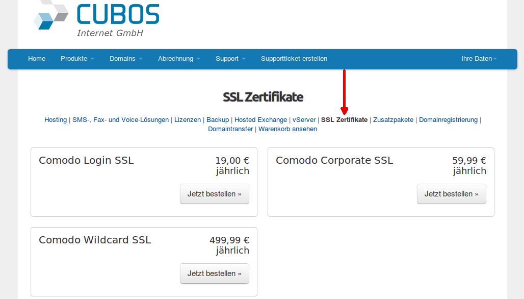 SSL Zertifikat bestellen - cubos Internet GmbH
